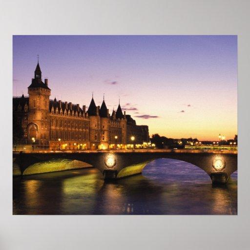 France, Paris, River Seine and Conciergerie at Print