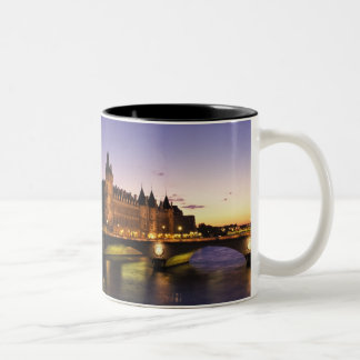 France, Paris, River Seine and Conciergerie at Two-Tone Coffee Mug