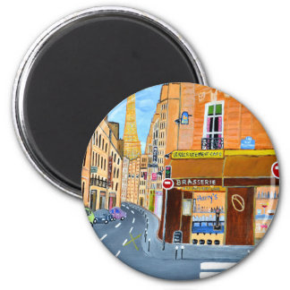 France, Paris,Rue Dominique 2 Inch Round Magnet