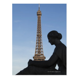 France, Paris, Statue of woman in front of Postcard