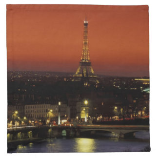 France, Paris Sunset view of Eiffel Tower and Cloth Napkin