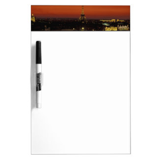 France, Paris Sunset view of Eiffel Tower and Dry-Erase Board