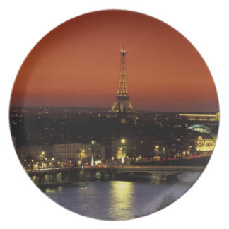 France, Paris Sunset view of Eiffel Tower and Plate