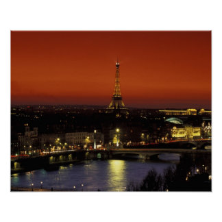 France, Paris Sunset view of Eiffel Tower and Poster