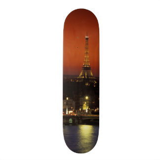 France, Paris Sunset view of Eiffel Tower and Skate Board