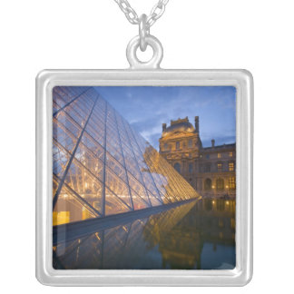France, Paris. The Louvre at twilight. Credit 3 Silver Plated Necklace
