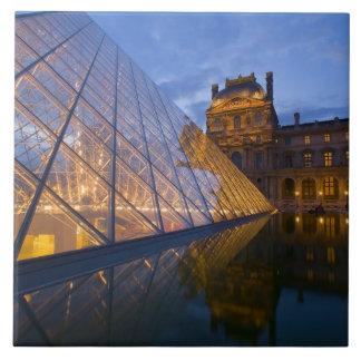 France, Paris. The Louvre at twilight. Credit 3 Large Square Tile