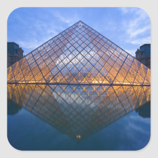 France, Paris. The Louvre at twilight. Credit Square Sticker