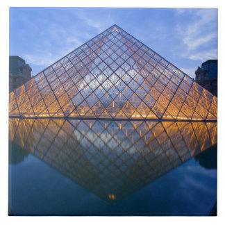 France, Paris. The Louvre at twilight. Credit Large Square Tile