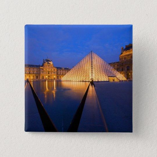France, Paris. The Louvre museum at twilight. Pinback Button