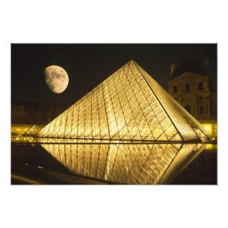 France, Paris, The Louvre Museum, Nighttime Photo Print