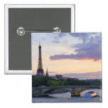 France,Paris,tour boat on River Seine,Eiffel 2 Inch Square Button