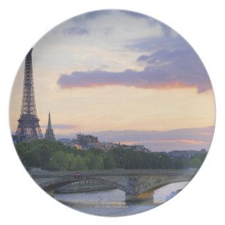 France,Paris,tour boat on River Seine,Eiffel Dinner Plate