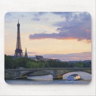 France,Paris,tour boat on River Seine,Eiffel Mouse Pad