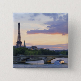 France,Paris,tour boat on River Seine,Eiffel Pinback Button