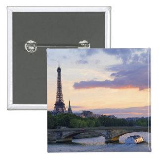 France,Paris,tour boat on River Seine,Eiffel Pinback Button