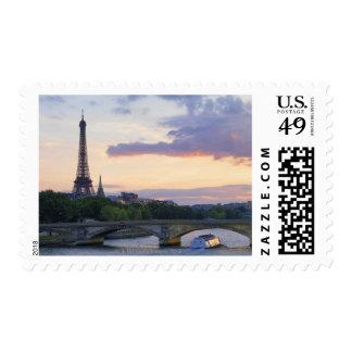France,Paris,tour boat on River Seine,Eiffel Postage