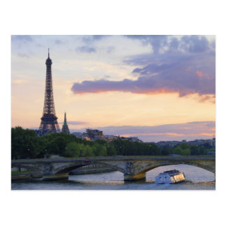 France,Paris,tour boat on River Seine,Eiffel Postcard