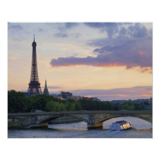 France,Paris,tour boat on River Seine,Eiffel Poster