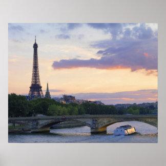 France,Paris,tour boat on River Seine,Eiffel Poster