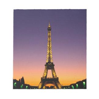 France, Paris, Tour Eiffel at sunset. Memo Pads