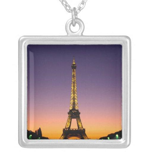 France, Paris, Tour Eiffel at sunset. Square Pendant Necklace