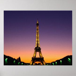 France, Paris, Tour Eiffel at sunset. Poster