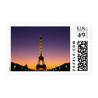 France, Paris, Tour Eiffel at sunset. Stamp