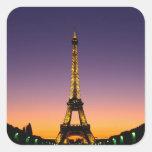 France, Paris, Tour Eiffel at sunset. Square Sticker