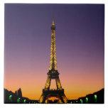 France, Paris, Tour Eiffel at sunset. Large Square Tile