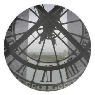 France, Paris. View across Seine River through Melamine Plate