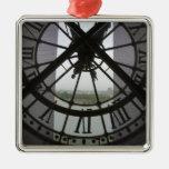 France, Paris. View across Seine River through Square Metal Christmas Ornament