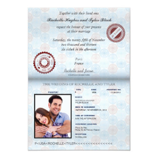 "France Passport (no glare) Wedding Invitation II 5"" X 7"" Invitation Card"