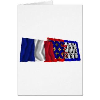 France & Pays-de-la-Loire waving flags Card