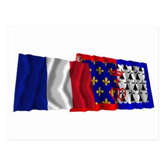 France & Pays-de-la-Loire waving flags Postcard
