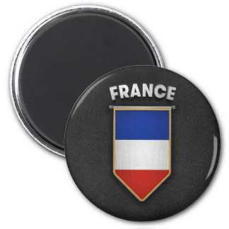France Pennant with high quality leather look Magnet