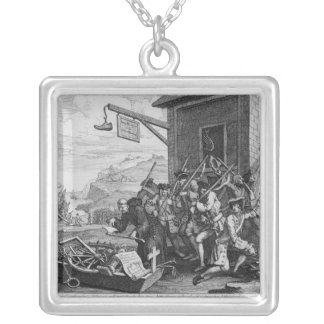 France, Plate I of 'The Invasion', 1756 Square Pendant Necklace