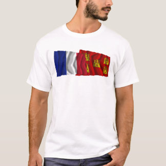 France & Poitou-Charentes waving flags T-Shirt