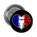 France pretty heart on black 2 inch round button
