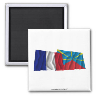 France & proposed Réunion waving flags 2 Inch Square Magnet