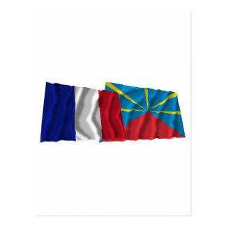 France & proposed Réunion waving flags Postcard