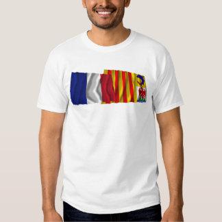 France & Provence-Alpes-Côte-d'Azur waving flags T-shirt
