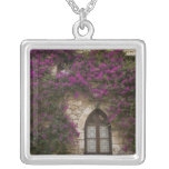 France, Provence, Eze. Bright pink Square Pendant Necklace