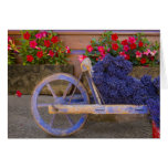 France, Provence, Sault. Old wooden cart with Card