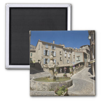 France, Provence, Valensole. Tourists explore 2 Inch Square Magnet