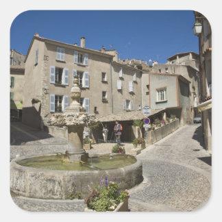 France, Provence, Valensole. Tourists explore Square Sticker