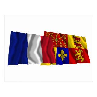 France & Pyrénées-Atlantiques waving flags Postcard