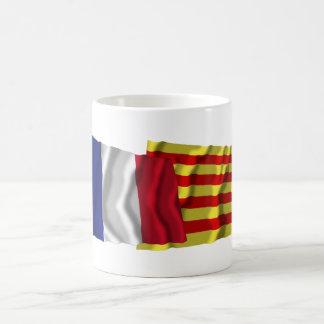 France & Pyrénées-Orientales waving flags Coffee Mug