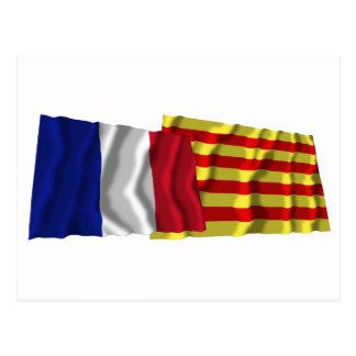 France & Pyrénées-Orientales waving flags Postcard