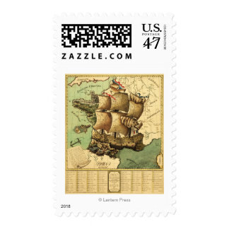 France Represented as a ShipPanoramic Map Postage